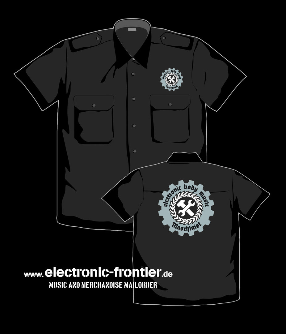 EBM Maschinist Worker Shirt with epaulet Front Embroidered, Back Print